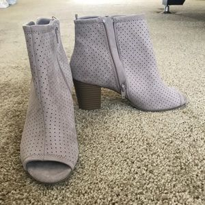 Size 9, peep toe booties, never worn!